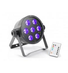 Beamz FlatPAR 7x18W RGBAWUV LEDs DMX IR