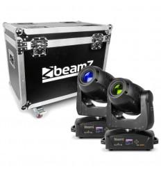 Beamz 2x IGNITE180 Spot LED Moving Head & Flightcase