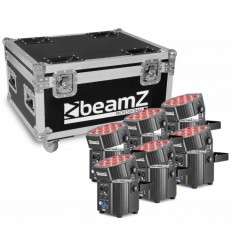 Beamz BBP60 Uplighter Set 6 pieces in Flightcase with Charger