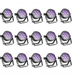 10 X Beamz BT280 LED Flat Par 7x10W 6-in-1 RGBAWUV